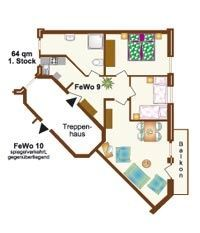 Ferienwohnungen 9+10 | 64 m², 1. Stock