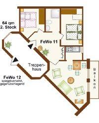 Ferienwohnungen 11+12 | 64 m², 2. Stock